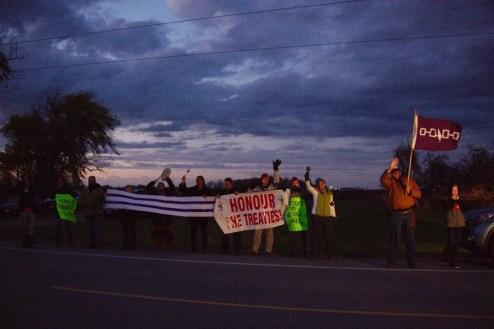 Activism shills supports at dusk